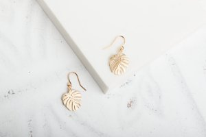 Claire+Hill+Designs+Gold+Monstera+Leaf+Earrings+
